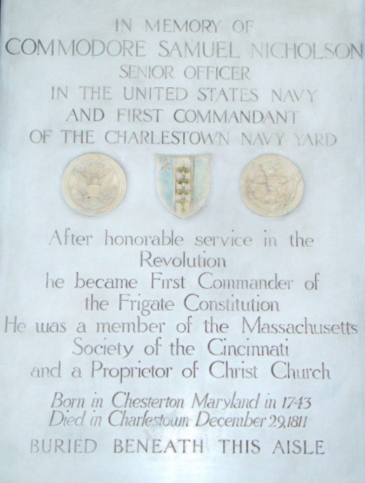 Buried Beneath the Church. The Memorial Plaque for Commodore Samuel Nicholson.