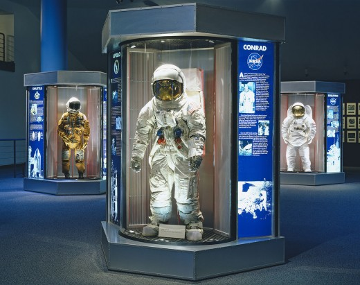NASA Space suits on display at the Lyndon B. Johnson Space Center in Houston.
