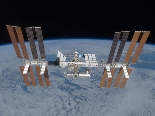 The International Space Station as seen from the departing Space Shuttle Discovery during 2009.