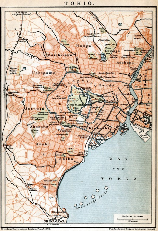 "A German map of Tokyo from 1896: Honjo is located in the north, named ""Hongo""."