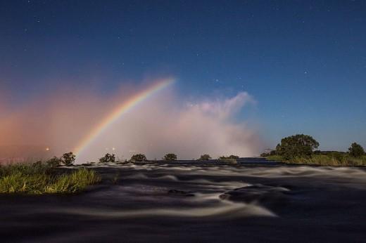Beautiful Moonbow at Victoria Falls