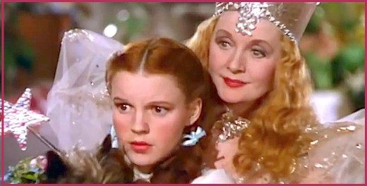 Judy Garland and Billie Burke in The Wizard of Oz.