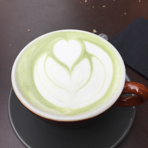A matcha latte: more gentle than coffee, but still noticeably stimulatory for sensitive people.