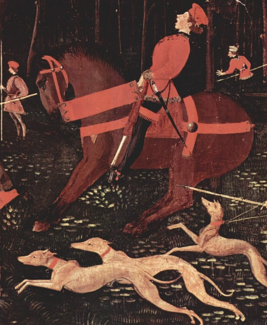 Sighthounds unleashed in Paolo Uccello's Night Hunt (Ashmolean Museum)