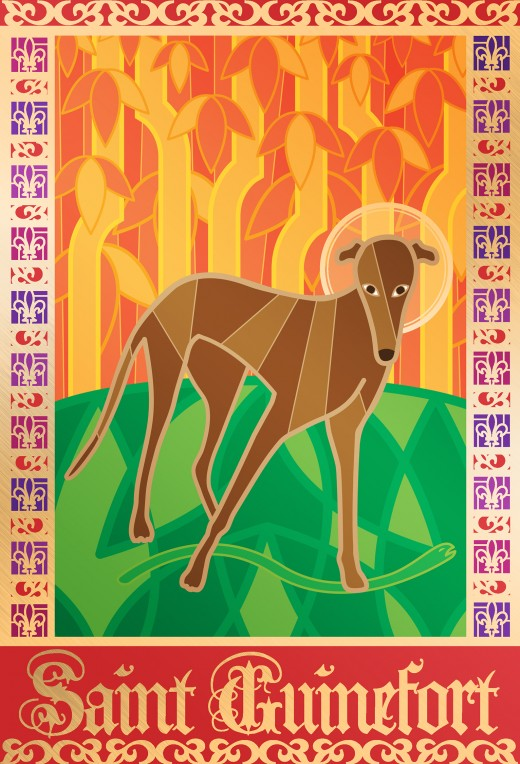 Illustration of Saint Guinefort, the greyhound who was named a saint by medieval people in a rural area of France around the 13th century. The veneration of St. Guinefort continued for over 700 years despite the protests of the Roman Catholic Church.