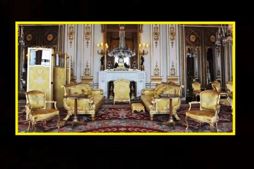 The drawing room where guests await their Royal Family hosts.