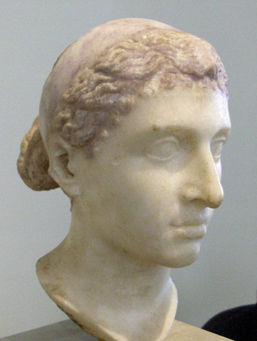Cleopatra VII of Egypt, Mark Antony's lover. A 1st century BC statue. Photo is in the public domain.