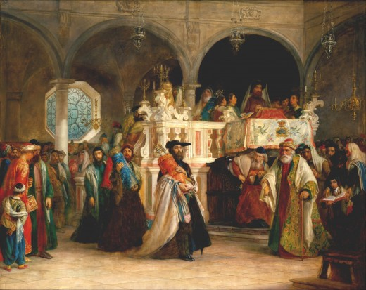 """The Feast of the Rejoicing of the Law at the Synagogue in Leghorn, Italy"" by Solomon Alexander Hart 1850 {{PD-1923}}"