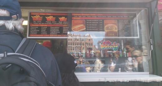 Fries and Burger Food Cart in Bruges, Belgium