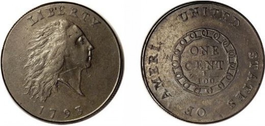 The first large cent design, was met with criticism, and was quickly replaced.