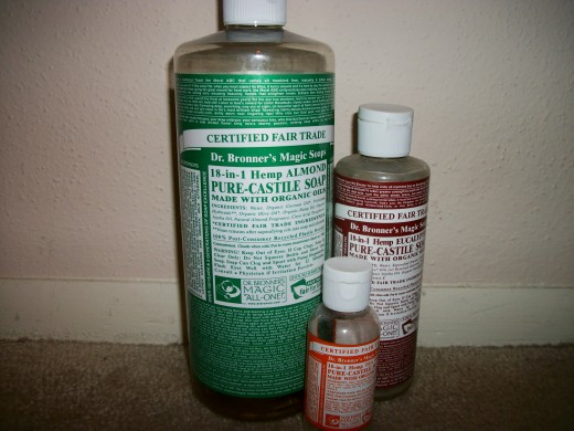 Dr. Bronner's Pure-Castile liquid soap peppermint, eucalyptus, and tea tree