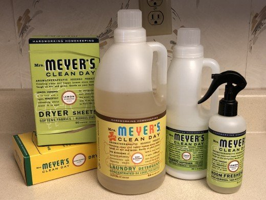 Mrs. Meyer's Clean Day dryer sheets, laundry detergent, fabric softner, and air freshener