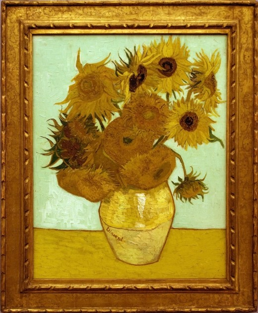 """Vase with Twelve Sunflowers""  {{PD-1923}} What was on the postcard."