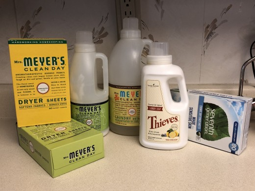 Mrs. Meyer's dryer sheets, liquid fabric softener, laundry detergent, Young Living Thieves laundry detergent, and Seventh Generation dryer sheets