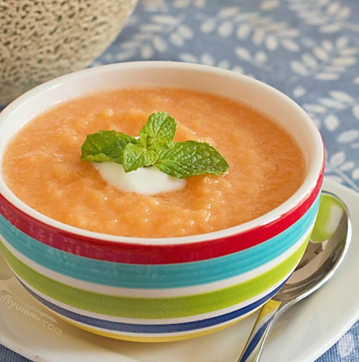 Chilled Cantaloupe Mango Soup provides a medley of flavor