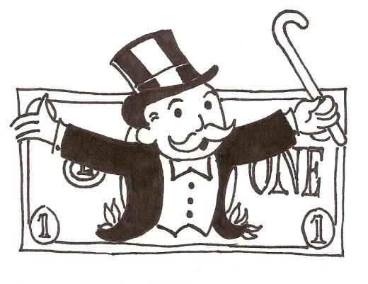 monopoly man on dollar bill drawing