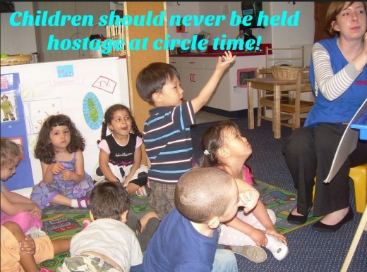 Long circle times at preschool should be avoided at all cost. Time is better spent when kids are actively engaged: playing, exploring, and socializing.