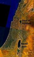 A satellite image of the Dead Sea and the Sea of Galilee. This image is in the public domain.