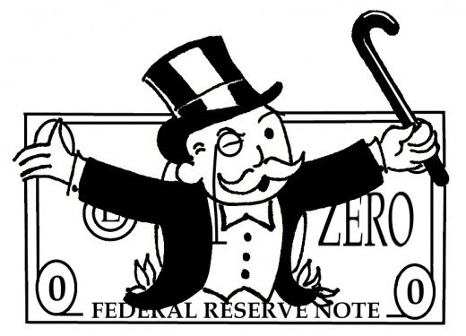 monopoly man on dollar bill drawing inked federal reserve note
