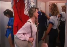 Girls just want to have fun as Brinke Stevens (in the blue shirt) Kari Whitman (Melody) and Kimber Sissons (Susie) prepare for a fun Fourth of July in Phantom of the Mall: Eric's Revenge