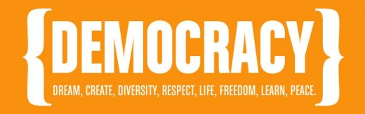 Democracy, dream, create, diversity, respect, life, freedom, learn, peace