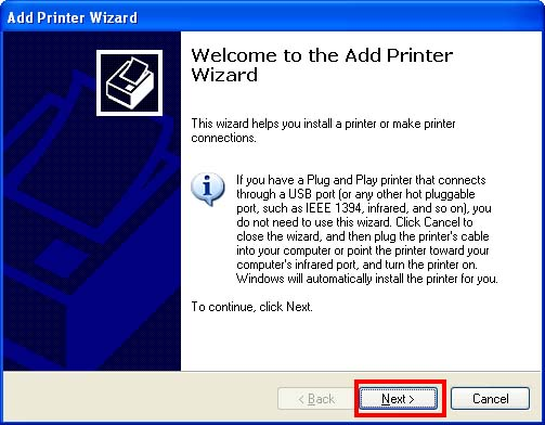 Add Printer Wizard.