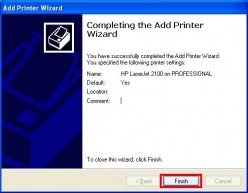 Completing the Add Printer Wizard