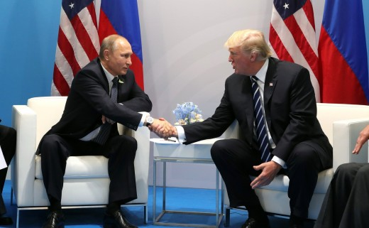Two presidents: Putin meets Trump in Germany.