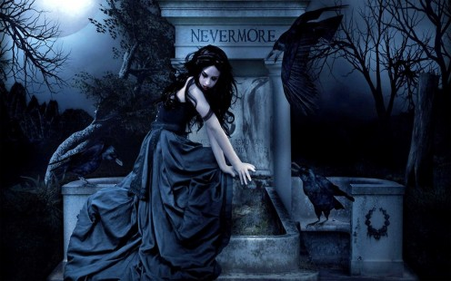 This screen shot image is from a fan video on YouTube for the song called Reason to Be. A woman in a dress is surrounded by a crow in the darkness of night.