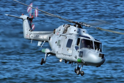 Royal Navy Linx helicopter patrolling.
