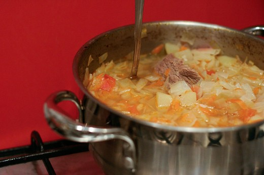 Delicious fat-burning cabbage soup.