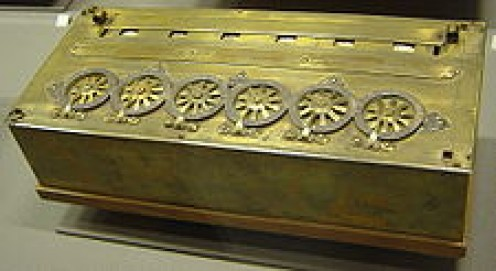 Arithmetic machine constructed by Blaise Pascal.