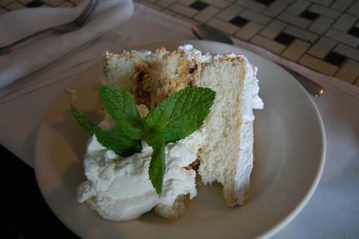 Slice of Lane Cake, Alabama's state dessert.