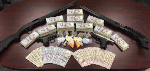 Narcotics officers in Knoxville, Tennessee,  recently found 1,059 oxycodone and opana pills hidden throughout a house. They also found $61,511 in cash, two handguns (one was stolen), two shotguns, and a stolen motorcycle.