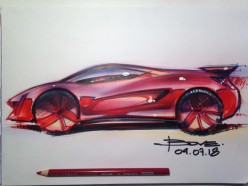 How to Draw a Red Car - Ferrari Sketch Tutorial