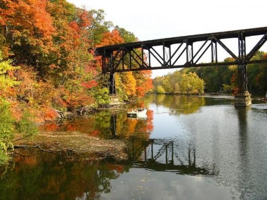 Old railroad trestle over Grand River in Grand Ledge