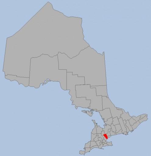 Map location of Peel region, Ontario