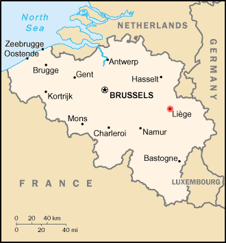 Map location of Liège, Belgium