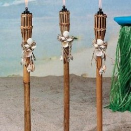 Here is a good example of oil burning tiki torches which are constructed of bamboo.