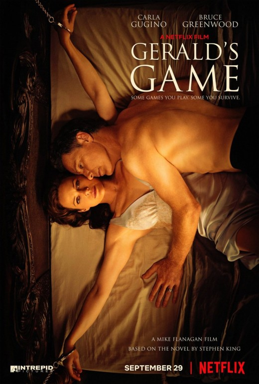 Carla Gugino (Jesse) and Bruce Greenwood (Gerald) on the cover of Netflix's 'Gerald's Game.'