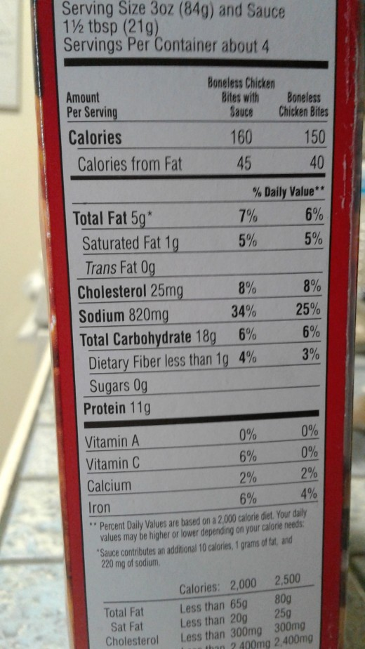 A photo of the nutritional info. from the package