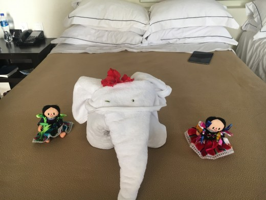 Cleaning ladies left this on our beds, the kids loved it!