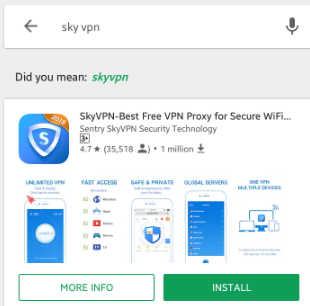 Screenshot of Sky VPN app on Google Playstore