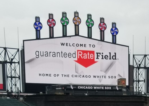 This display lights up every time a White Sox player hits a home run... which happens a lot, for both teams, because this park's dimensions make it laughably easy to hit home runs.