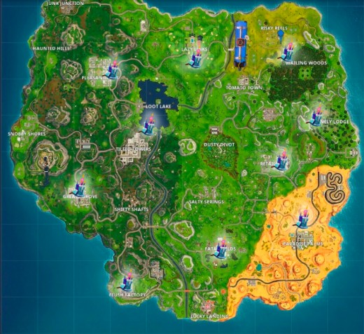 The Fortnite battleground map.