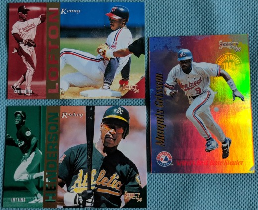 From 1994 Select, the Marquis Grissom Select Skills insert was the highlight among base cards like Hall of Famer Rickey Henderson and superstar Kenny Lofton.