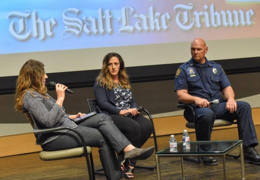"Salt Lake Tribune Editor Jennifer Napier-Pearce, Utah State Lodge Fraternal Order of Police Spokeswoman Shante Johnson and Salt Lake City Fire Capt. Mike Stevens at the ""Trib Talk Live"" event ""Utah's first responders and PTSD."""