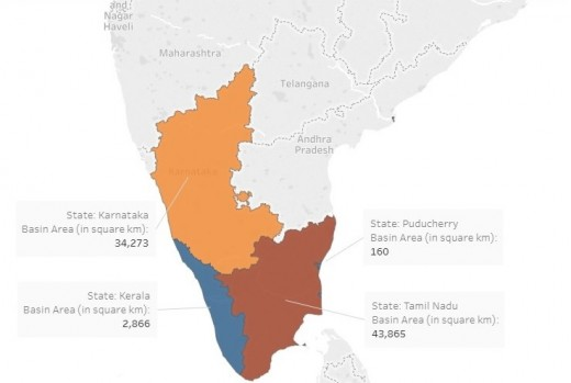 Figure: Cauvery river Basin area (81,155 square km) division among 3 states and 1 UT