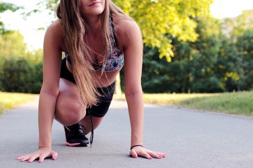 Woman stretching before walk