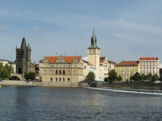 Smetana museum and Old Town Bridge Tower Prague.